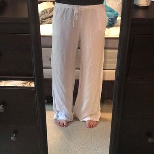 Wide leg white linen pants